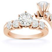 Charles & Colvard® Forever Brilliant® Round Cut Moissanite 5-Stone Engagement Ring in 14k Rose Gold - US-SSR2139-FB-14R