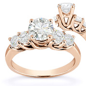 Charles & Colvard® Forever Classic® Round Brilliant Cut Moissanite 5-Stone Trellis Engagement Ring in 14k Rose Gold - US-SSR2722-MS-14R