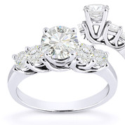 Charles & Colvard® Forever Classic® Round Brilliant Cut Moissanite 5-Stone Trellis Engagement Ring in 14k White Gold - US-SSR2722-MS-14W