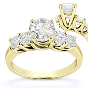 Charles & Colvard® Forever Brilliant® Round Cut Moissanite 5-Stone Trellis Engagement Ring in 14k Yellow Gold - US-SSR2722-FB-14Y