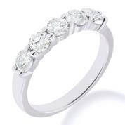 Charles & Colvard® Forever Brilliant® Round Cut Moissanite 5-Stone Basket Wedding Band in 14k White Gold - JC-WB 500-FB-14W