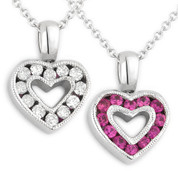 0.65ct Pink Sapphire & Diamond Heart Charm 2-Sided Pendant & Chain Necklace in 14k White Gold