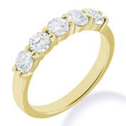 Charles & Colvard® Forever Brilliant® Round Cut Moissanite 5-Stone Basket Wedding Band in 14k Yellow Gold - JC-WB 500-FB-14Y