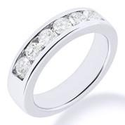 Charles & Colvard® Forever Brilliant® Round Cut Moissanite Channel-Set 7-Stone Wedding Band in 14k White Gold - JC-WB 1140-FB-14W