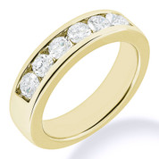 Charles & Colvard® Forever Brilliant® Round Cut Moissanite Channel-Set 7-Stone Wedding Band in 14k Yellow Gold - JC-WB 1140-FB-14Y