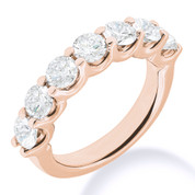 Charles & Colvard® Forever Brilliant® Round Cut Moissanite 7-Stone Open U-Prong Wedding Band in 14k Rose Gold - JC-WB 1267-FB-14R