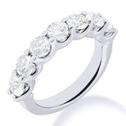 Charles & Colvard® Forever Brilliant® Round Cut Moissanite 7-Stone Open U-Prong Wedding Band in 14k White Gold - JC-WB 1267-FB-14W