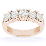 Charles & Colvard® Forever Brilliant® Round Cut Moissanite 5-Stone Wedding Band in 14k Rose Gold - US-WR145-5-FB-14R