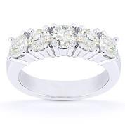 Charles & Colvard® Forever Brilliant® Round Cut Moissanite 5-Stone Wedding Band in 14k White Gold - US-WR145-5-FB-14W