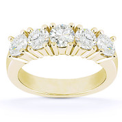 Charles & Colvard® Forever Brilliant® Round Cut Moissanite 5-Stone Wedding Band in 14k Yellow Gold - US-WR145-5-FB-14W