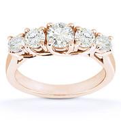 Charles & Colvard® Forever Brilliant® Round Cut Moissanite 5-Stone Trellis Wedding Band in 14k Rose Gold - US-WR545-FB-14R