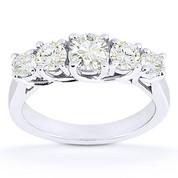 Charles & Colvard® Forever Brilliant® Round Cut Moissanite 5-Stone Trellis Wedding Band in 14k White Gold - US-WR545-FB-14W