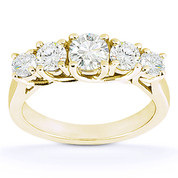 Charles & Colvard® Forever Brilliant® Round Cut Moissanite 5-Stone Trellis Wedding Band in 14k Yellow Gold - US-WR545-FB-14Y