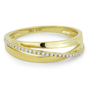 0.09ct Round Cut Diamond Right-Hand Multi-Arch Overlap Ring in 14k Yellow Gold