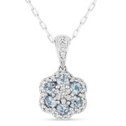 0.61ct Round Cut Blue Topaz & Diamond Pave Flower Pendant & Chain Necklace in 14k White Gold
