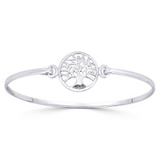 Tree-of-Life 16mm Charm Bangle Bracelet in Solid .925 Sterling Silver - ST-BG002-SL