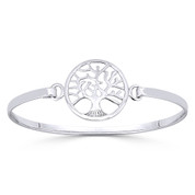 Tree-of-Life 22mm Charm Bangle Bracelet in Solid .925 Sterling Silver - ST-BG003-SL