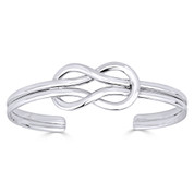 Love Knot Charm Open Cuff Adjustable Bangle in .925 Sterling Silver - ST-BG004-SL