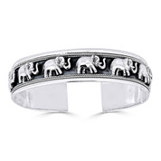 Elephant Charm Open Cuff Adjustable Bangle in Solid .925 Sterling Silver - ST-BG005-SL
