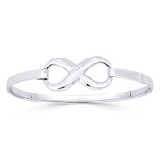 Infinity Symbol / Figure 8 Charm Bangle Bracelet in Solid .925 Sterling Silver - ST-BG007-SL