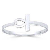 "Egyptian Ankh ""Key-of-Life"" Charm Bangle Bracelet in Solid .925 Sterling Silver - ST-BG009-SL"