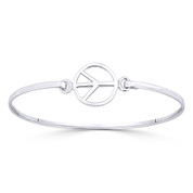 Peace Sign 15mm Circle Charm Bangle Bracelet in Solid .925 Sterling Silver - ST-BG010-SL