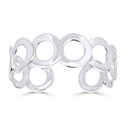 19mm Multi-Circle Adjustable Open Cuff Bangle in Solid .925 Sterling Silver - ST-BG011-SL