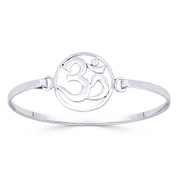 Om Symbol Hindu / Buddhist Charm Bangle Bracelet in Solid .925 Sterling Silver - ST-BG013-SL