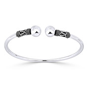 8mm Polished Double Ball End Open Cuff Bangle in .925 Sterling Silver - ST-BG014-SL