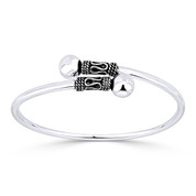 8mm Polished Double Ball End Bypass Cuff Bangle in .925 Sterling Silver - ST-BG015-SL