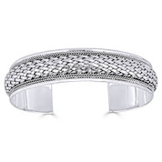 Basket-Weave & Braided Rope Detail 15mm Open-Cuff Bangle in Solid .925 Sterling Silver - ST-BG018-SL