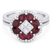 2.18ct Pear-Shaped Ruby & Diamond Right-Hand Flower Ring in 18k White Gold - AM-DR13108