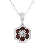 0.64ct Round Cut Garnet & Diamond Pave Flower Pendant & Chain Necklace in 14k White Gold