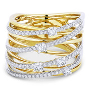 0.63ct Round Cut Diamond Pave Overlap Loop Right-Hand Wrap Ring in 14k Yellow & White Gold - AM-DR13279