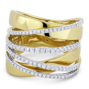 0.61ct Round Cut Diamond Pave Overlap Loop Right-Hand Wrap Ring in 14k Yellow & White Gold - AM-DR13282