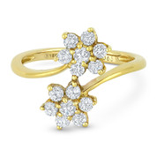 0.63ct Round Brilliant Cut Diamond Cluster Double-Flower Bypass Ring in 18k Yellow Gold - AM-DR7318