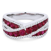 1.87ct Ruby & Diamond Pave Right-Hand Overlap-Design Fashion Ring in 18k White Gold - AM-DR13228