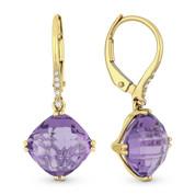 5.10ct Cushion Checkerboard Amethyst & Diamond Dangling Earrings in 14k Yellow Gold - AM-DE11869