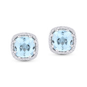 2.80ct Cushion Cut Blue Topaz & Diamond Square-Halo 8-Prong Stud Earrings in 14k White Gold - AM-DE11265