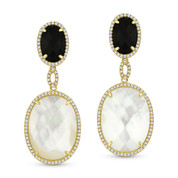 Mother-of-Pearl, Black Onyx, & 0.44ct Diamond Pave Dangling Earrings in 14k Yellow Gold - AM-DE11413
