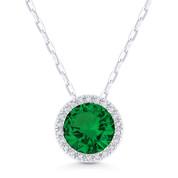 1.23ct Round Cut Lab-Created Emerald & Diamond Halo Pendant & Chain Necklace in 14k White Gold - AM-DN5300