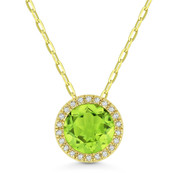 1.41ct Round Cut Peridot & Diamond Halo Pendant & Chain Necklace in 14k Yellow Gold - AM-DN5304