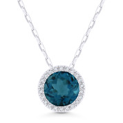 1.72ct Round Cut London-Blue Topaz & Diamond Halo Pendant & Chain Necklace in 14k White Gold - AM-DN5315