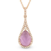 1.92ct Purple Amethyst & Diamond Tear-Drop Halo Pendant & Chain Necklace in 14k Rose Gold