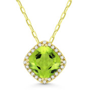 1.64ct Cushion Cut Peridot & Round Cut Diamond Halo Pendant & Chain Necklace in 14k Yellow Gold - AM-DN5385