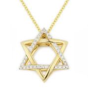 0.11ct Round Cut Diamond Star of David Pendant in 14k Yellow Gold - AM-DP5438