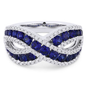 2.09ct Round Brilliant Cut Sapphire & Diamond Pave Right-Hand Ring in 18k White Gold - AM-DR13315