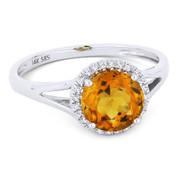 1.39ct Round Brilliant Cut Citrine & Round Diamond Halo Promise Ring in 14k White Gold - AM-DR13454