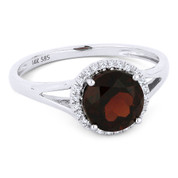 2.00ct Round Brilliant Cut Garnet & Round Diamond Halo Promise Ring in 14k White Gold - AM-DR13455