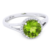 1.54ct Round Brilliant Cut Peridot & Round Diamond Halo Promise Ring in 14k White Gold - AM-DR13458